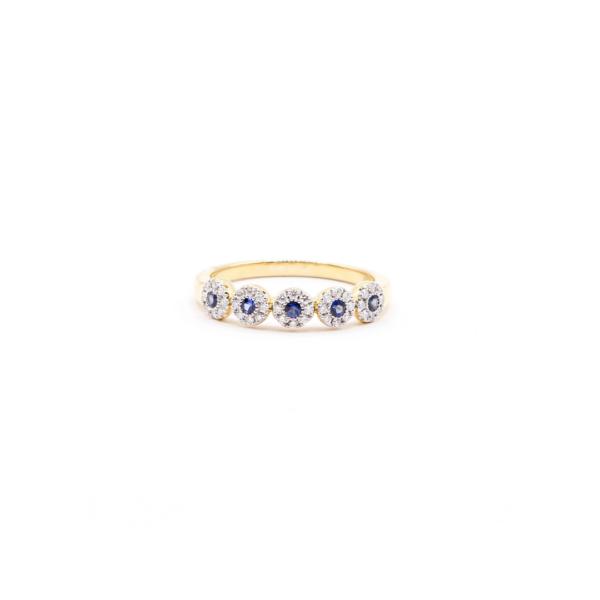Anillo oro amarillo 18k con zafiro y diamante 0,23ct