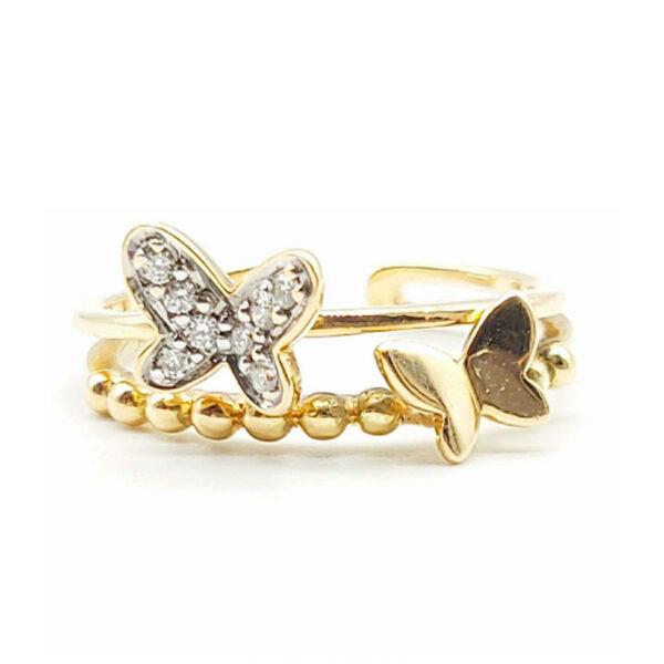 Anillo mariposas oro amarillo con diamantes
