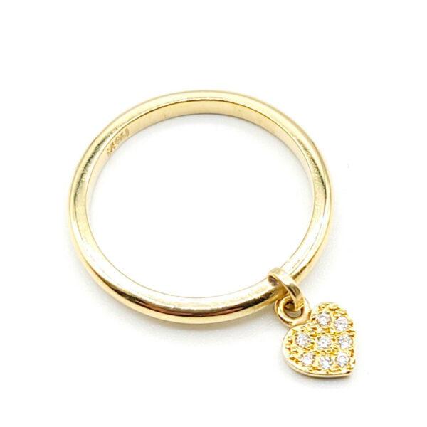 Anillo oro amarillo corazón con diamantes