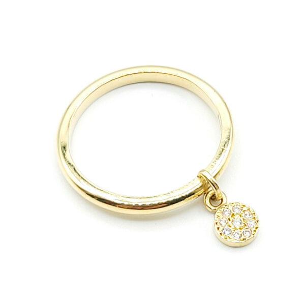 Anillo oro amarillo círculo con diamantes