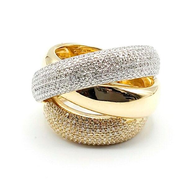 Anillo oro amarillo y blanco con diamantes