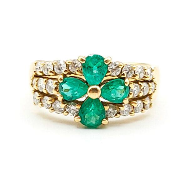 Anillo oro amarillo con esmeralda y diamantes