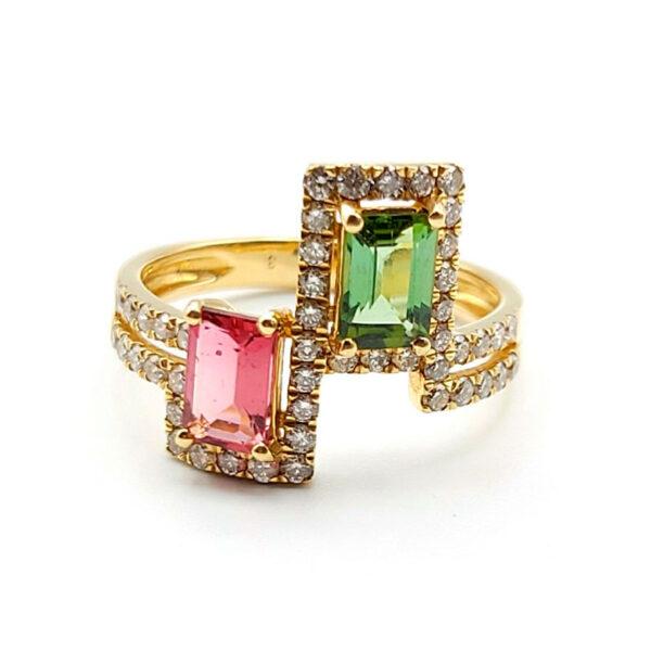 Anillo oro amarillo con turmalinas y diamantes