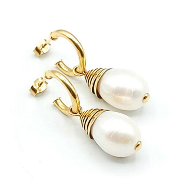aros oro amarillo perlas cultivadas