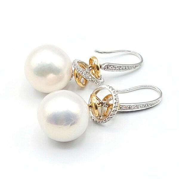 aros oro amarillo y blanco perlas cultivadas diamantes