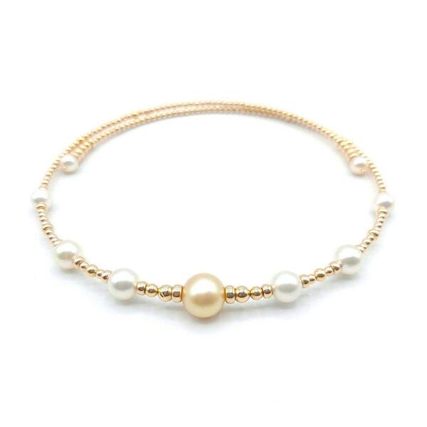 gargantilla oro amarillo perlas cultivadas